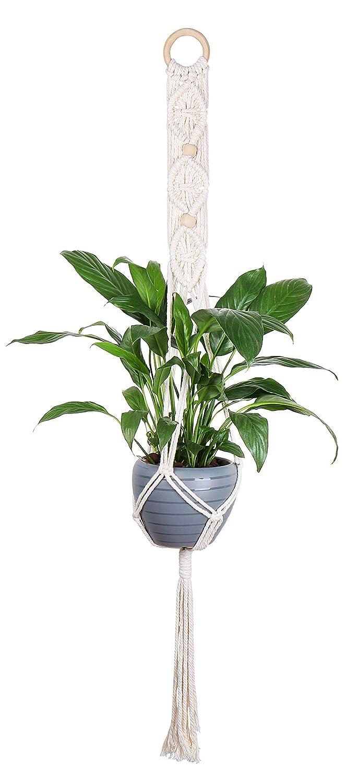 Luxbon 3er Set Makramee Blumenampel Baumwollseil Pflanzenaufh/änger Blumentopf Halter f/ür Innen Au/ßen Decken Balkone Wanddekoration