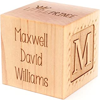 product image for Smiling Tree Toys Customizable Keepsake Birth Blocks. All Natural, Wooden, Personalized Heirloom Gift for Baby or Toddler (Boy Block)