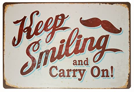 Amazon.com: ERLOOD Keep Smiling and Carry OnRetro Vintage Home Decor ...