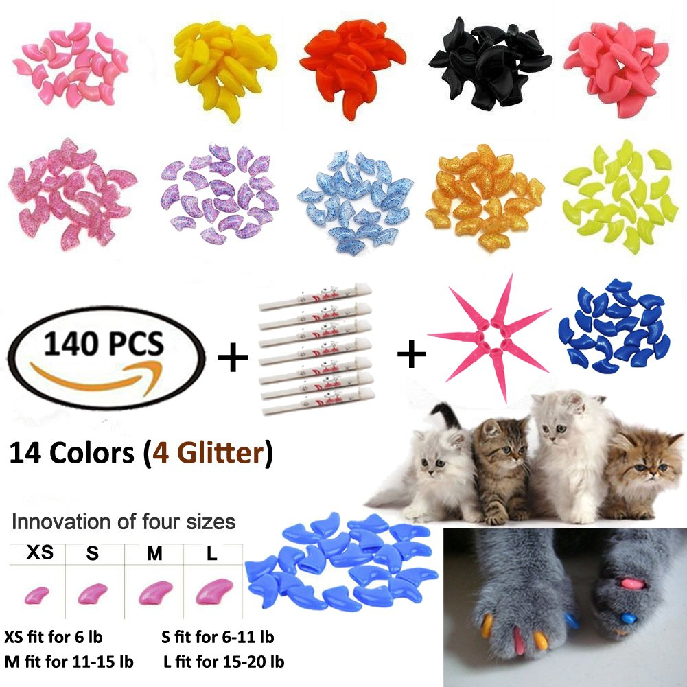 JOYJULY 140pcs Pet Cat Kitty Soft Claws Caps Control Soft Paws 4 Glitter Colors, 10 Colorful Cat Nails Caps Covers + 7 Adhesive Glue+7 Applicator Instruction, Medium M