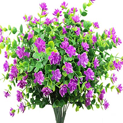 Zimeng 8Pcs Artificial Flowers Fake Outdoor UV Resistant Plants Faux Plastic  Greenery Shrubs Bushes Indoor Outside