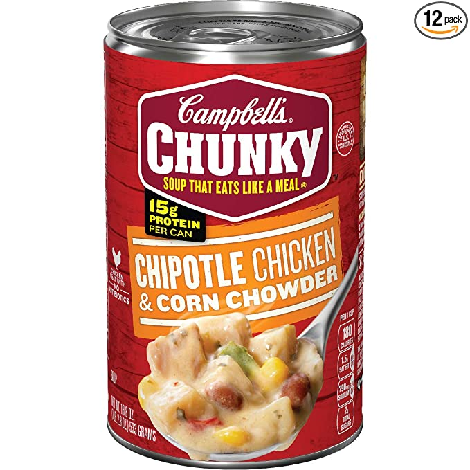 Amazon Com Campbell S Chunky Chipotle Chicken Corn Chowder 18 8 Oz Can Pack Of 12 Packaged Split Pea Soups Grocery Gourmet Food