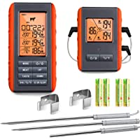 Wireless Meat Thermometer for Grilling Smoking - Remote Cooking Thermometer with 3 Probes - Monitor Food and Ambient…
