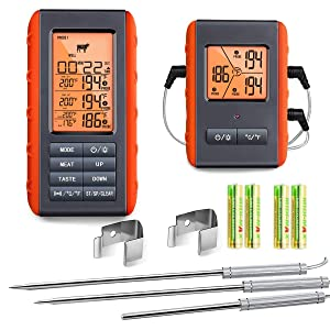 Wireless Meat Thermometer for Grilling Smoking - Remote Cooking Thermometer with 3 Probes - Monitor Food and Ambient Temperature Inside The Grill Smoker BBQ, Digital Oven Thermometer, 490ft Range