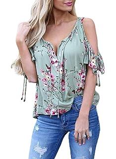 4839f80ab55e16 ... Plus Size Belted Surplice Peplum V Neck Tops. $0.20 - $7.50 · AlvaQ Women  Floral Print Shirts V Neck Short Sleeve Cold Shoulder Tops Blouses