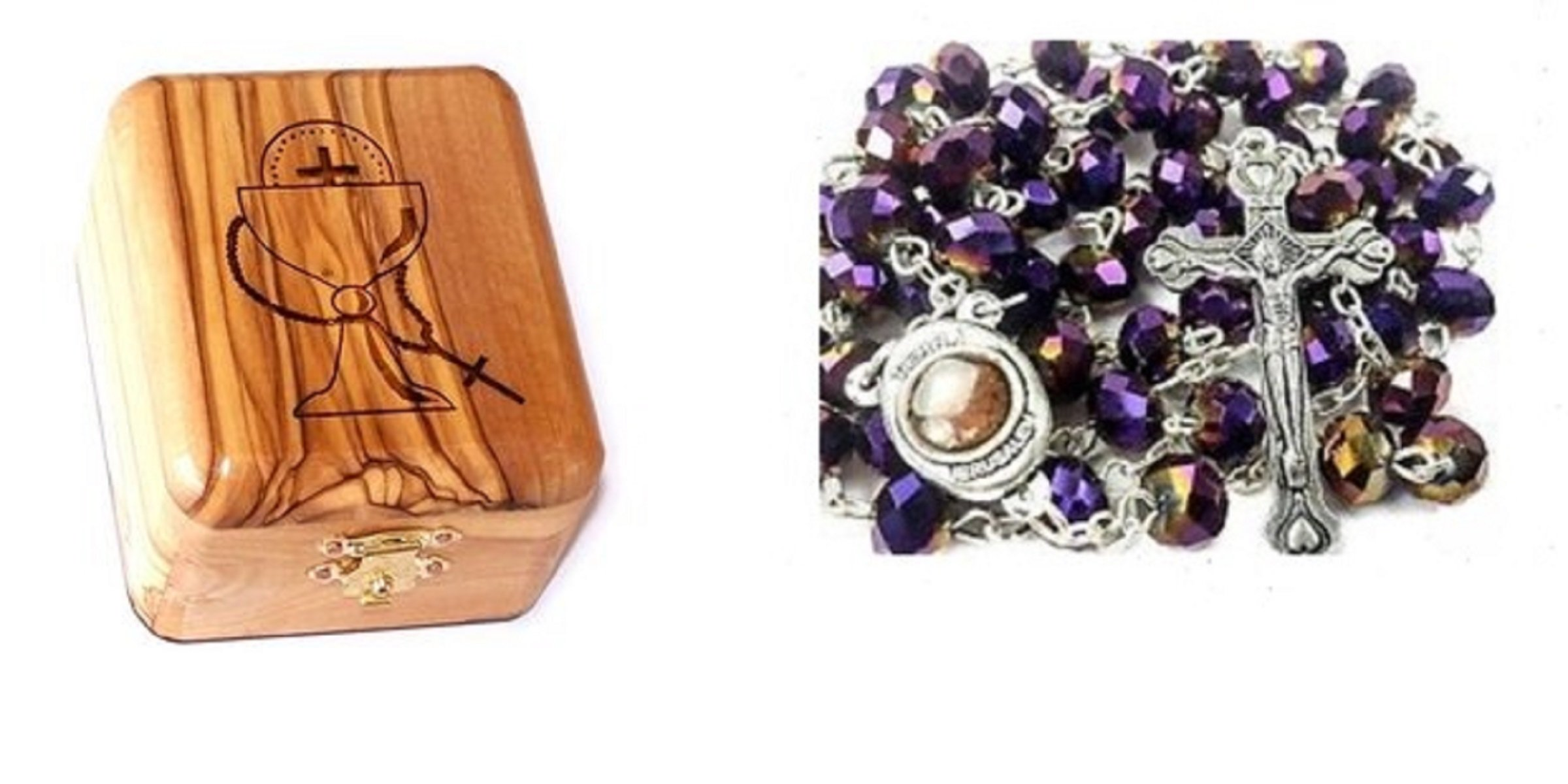 Olive Wood First Communion Jewelry Box with Holy Land Earth Glass Rosary by Bethlehem Gifts TM (Purple)