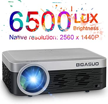 Proyector 2K, BIGASUO Full HD Proyector 6200 Lux HDMI Proyector ...