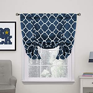 "H.VERSAILTEX Thermal Insulated Blackout Curtain - Tie Up Balloon Shade for Small Window (Rod Pocket Panel, 42"" W x 63"" L, Moroccan Tile Quatrefoil Navy Pattern)"