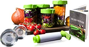 Fork&Pickle by Boxiti Mason Jars lids Fermentation lid Kit - 4 lids, 2 Glass Weights, 1 Air Extractor, User Guide & Recipe Book - Fermenting Starter Kit - Kimchi, Pickles & Fermentation lids