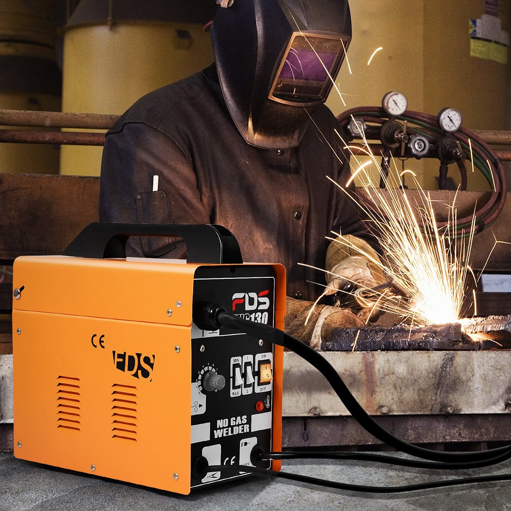 Goplus Mig 130 Welder Flux Core Wire Automatic Feed Welding Machine Parts Cored With W Free Mask