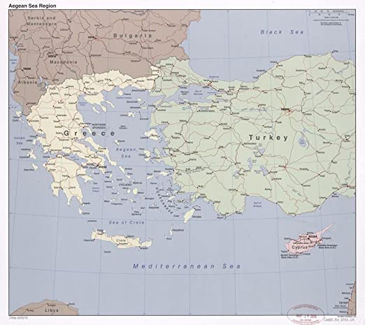 Amazon Com 2006 Map Aegean Sea Region Size 22x24 Ready To Frame