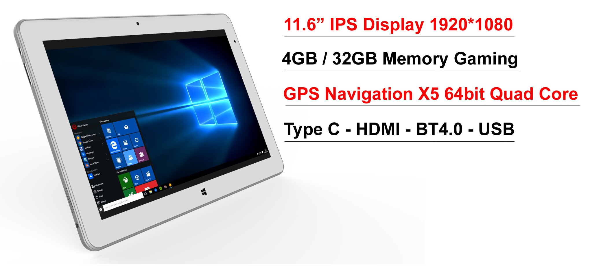 11.6'' IPS intel Atom X5 8350 2 in1 4GB 32GB EMMC GPS Windows 10 Laptop tablet PC