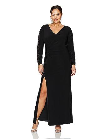 Xscape Womens Plus Size Ity Bead Long Sleeve Dress At Amazon