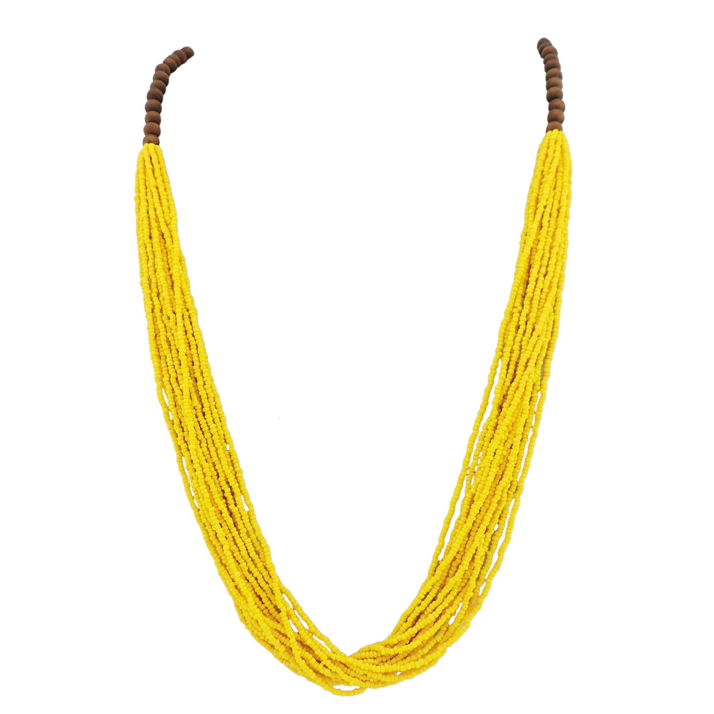 Bocar Long Multiple Row Handmade Beaded Statement Necklace with Gift Box (NK-10407-yellow) by Bocar