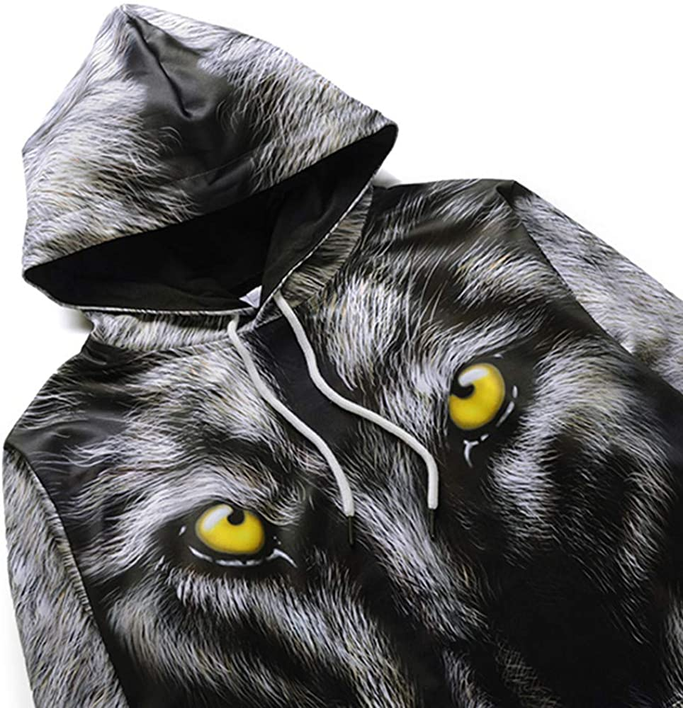 Unisex Hooded Sweatshirts Plus Size 3D Wolf Printed Long Sleeve Pullover Tops Blouse