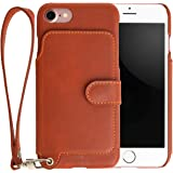 <iPhone 7用> RAKUNI (ラクニ) 本革 背面ポケット型ケース(キャラメル)前面むきだし/ストラップ付き/スタンド機能/財布がわりに(茶)