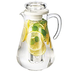 Service Ideas SWP19SB Acrylic Pitcher with Ice Tube, 1.9 Liter (64.2 oz.), Clear