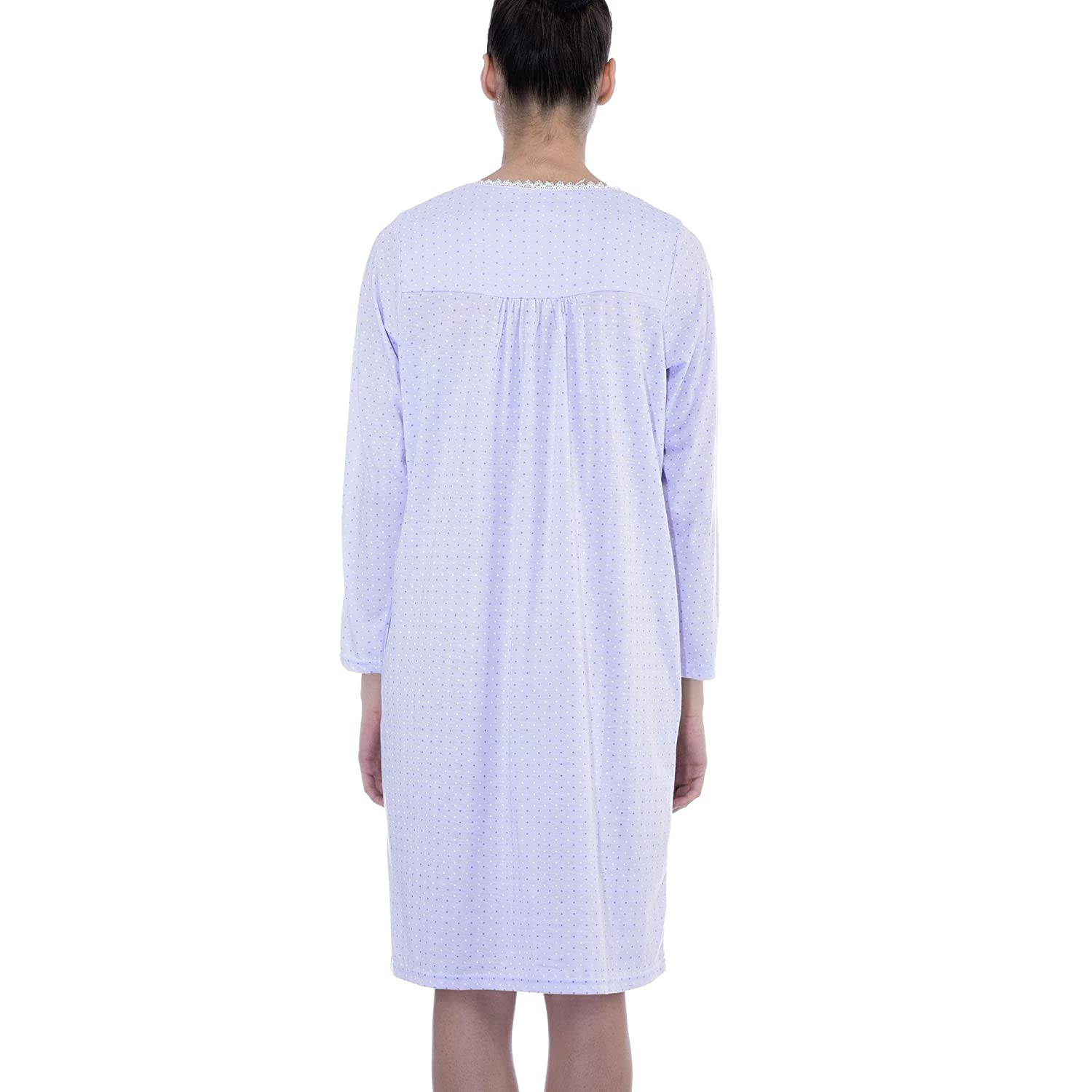 2776d29d81 Ezi Women s Long Sleeve Dainty Comfy Cotton Nightgown at Amazon Women s  Clothing store