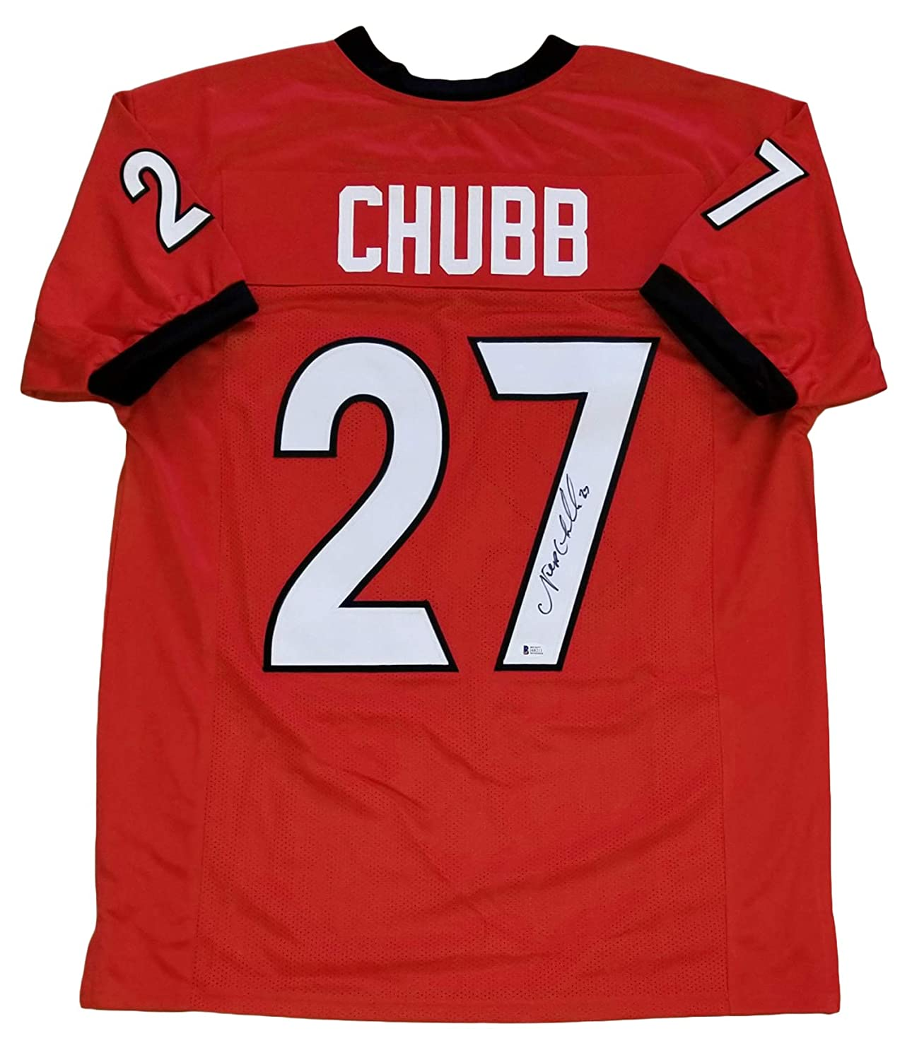 Nick Chubb Autographed Red//Home College style Jersey w Beckett witness Certificate of Authenticity!