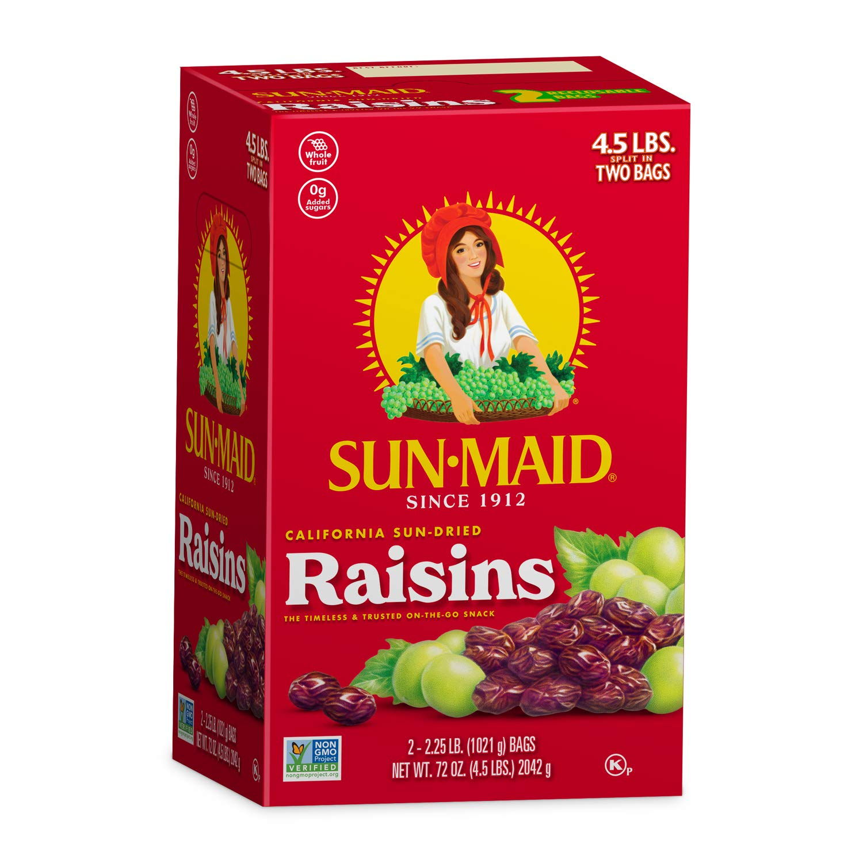B00286361O Sun-Maid Natural Raisins - Dried Fruit Snacks Healthy snacks for kids - 72oz (4.5lbs total) 719sw6tuRQL