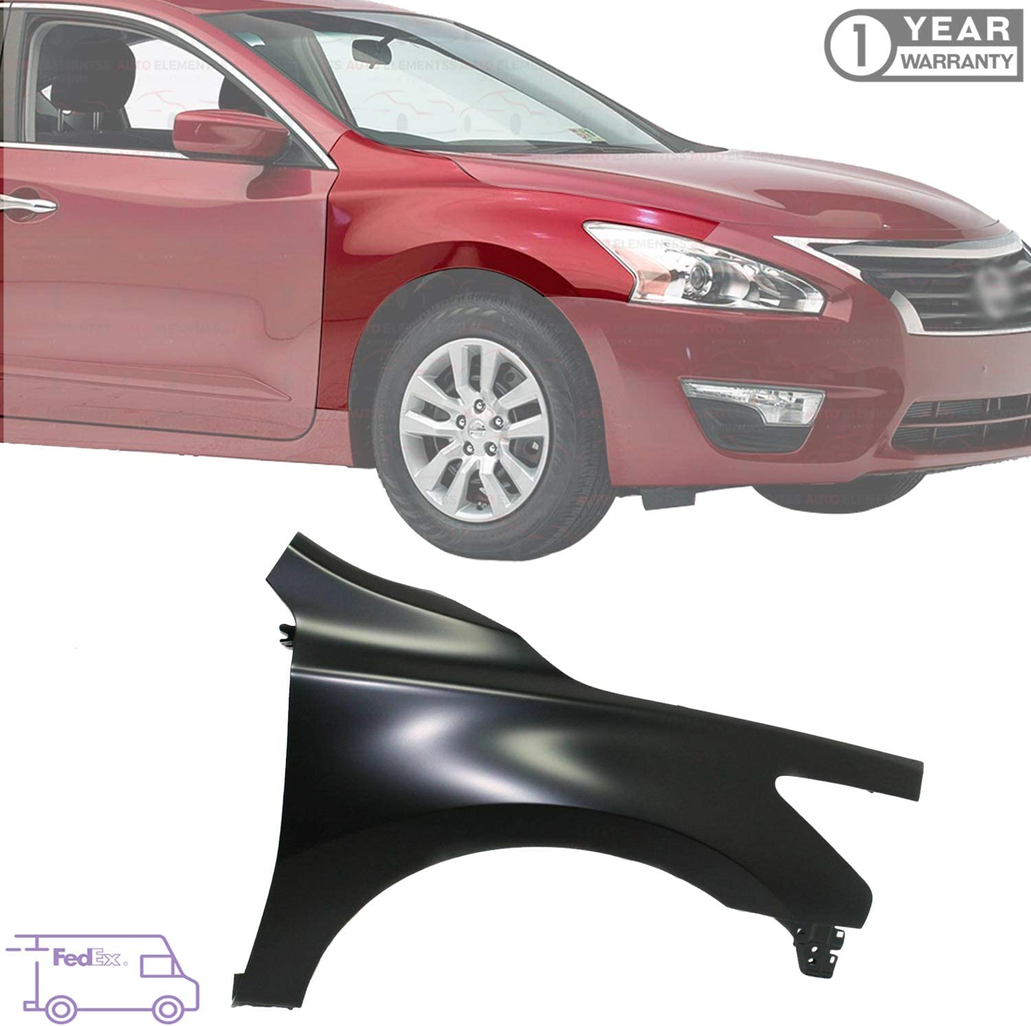 Left 63101-9HS0A NI1240221C Replacement 2017 Go-Parts CAPA Certified Driver for 2016-2018 Nissan Altima Fender