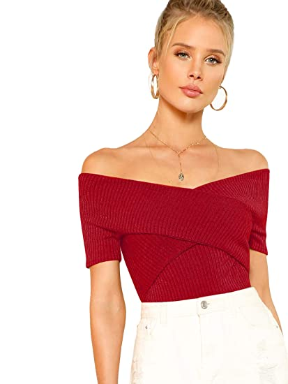 4626db11 Romwe Women's Off Shoulder Cross Wrap Slim Fit Short Sleeve Blouse Tops  Burgundy X-Small