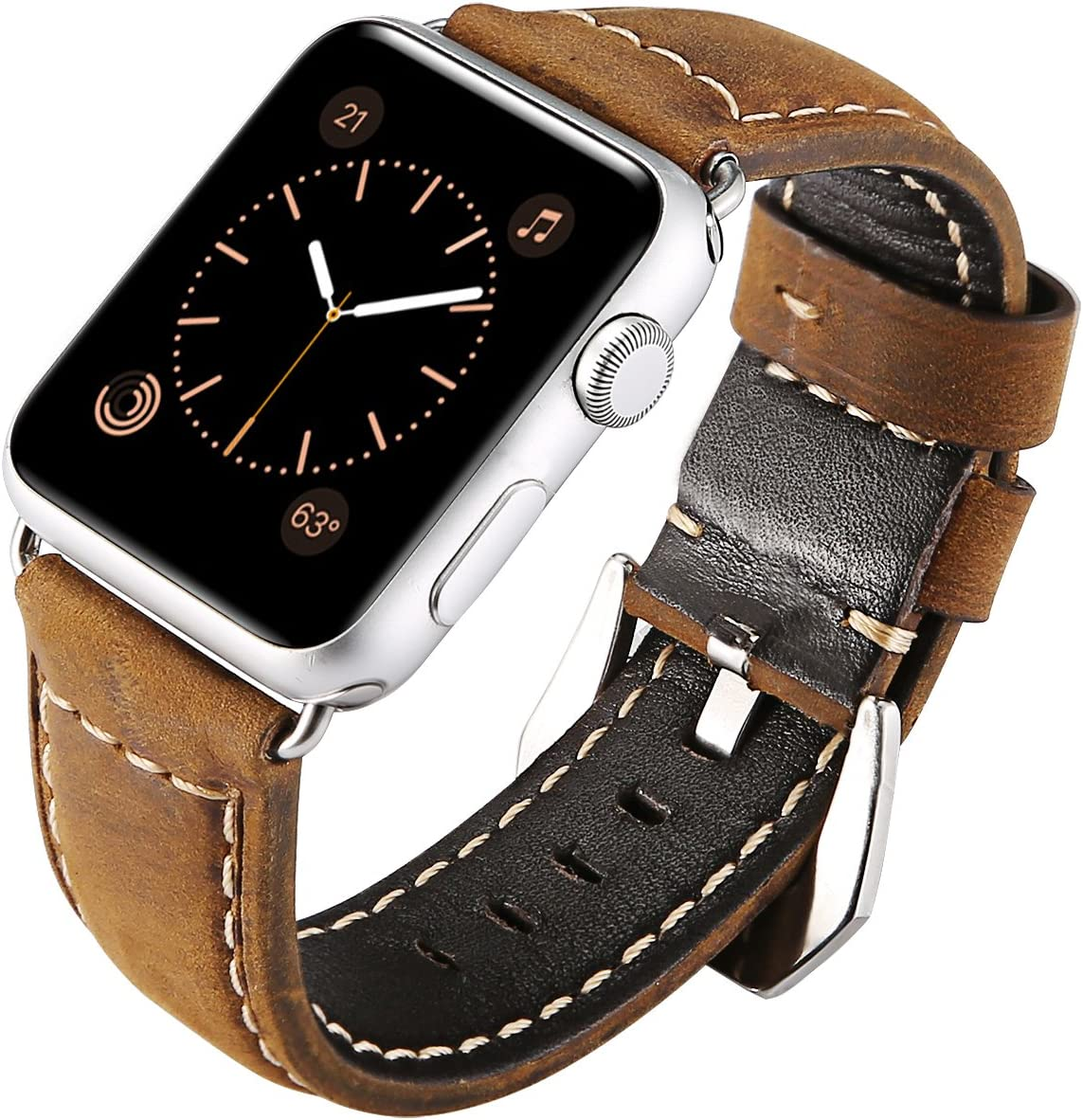 Maxjoy Compatible with Apple Watch Band, 42mm 44mm Watch Bands Leather Strap Replacement Bracelet Wristband with Metal Clasp Adapter Compatible with Apple iWatch Series 4 3 2 1 Sport Edition, Brown