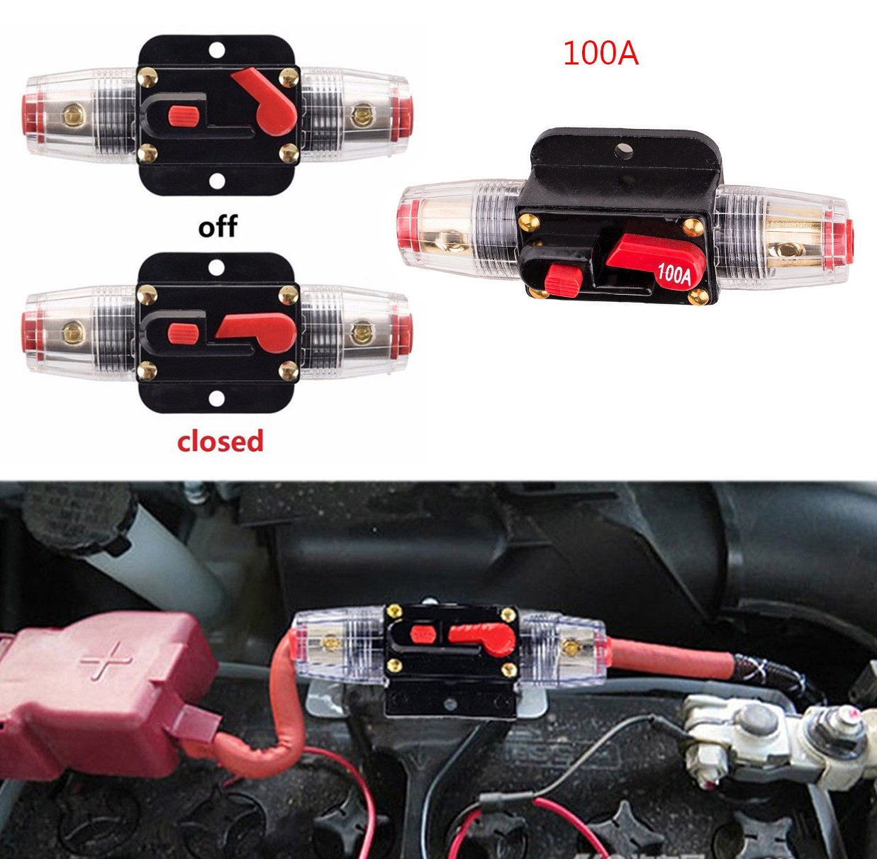 Circuit Breaker 12V for Car Audio System 100A Inline Fuse Holder Waterproof by Podoy