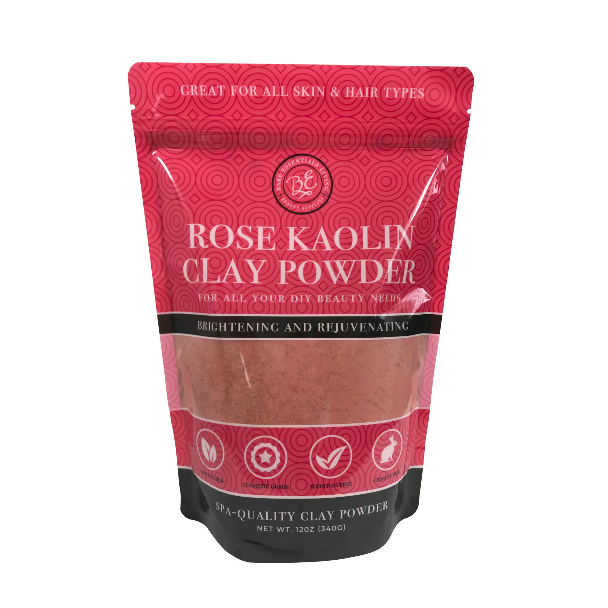 Pink Clay Powder 12 oz, Pure Rose Kaolin Clay Powder for Face Masks or for Colorant DIY Beauty Products for Face, Hair, Body, Soap, Bath Bombs, Makeup, Lotion and Deodorant by Bare Essentials Living