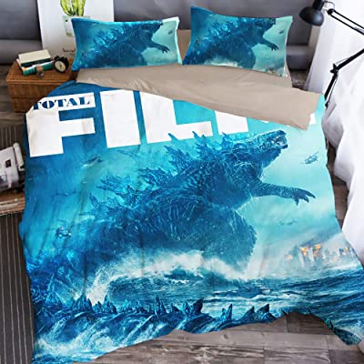 Sunday 3D Godzilla Dinosaur Duvet Cover Cartoon Bedding Sets with 3 Pieces 1 Duvet Cover 2 Pillowcases, Best Gift for Kids,Twin Size: Home & Kitchen