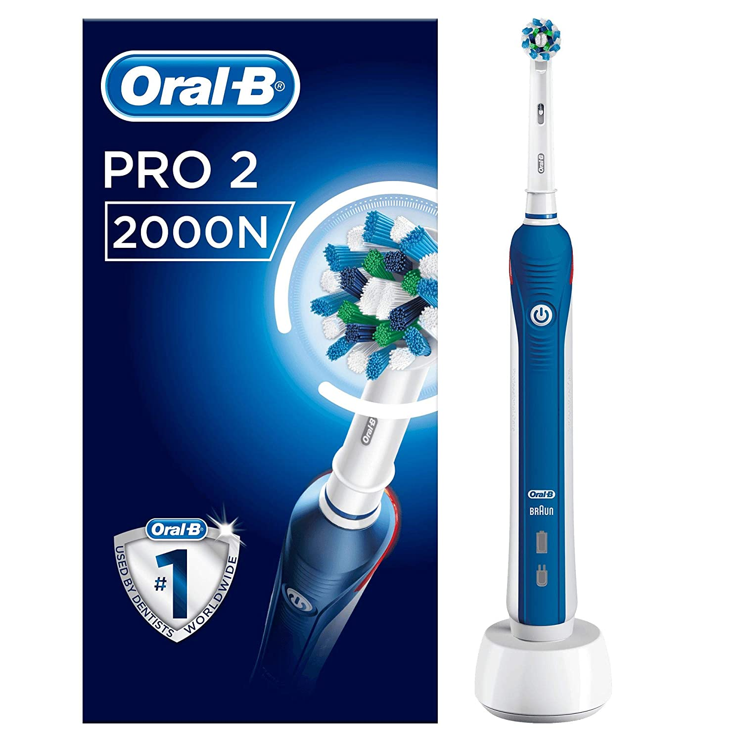 Oral-B Pro 2000 CrossAction Electric Toothbrush Rechargeable Powered by  Braun c3e355ac2a2c