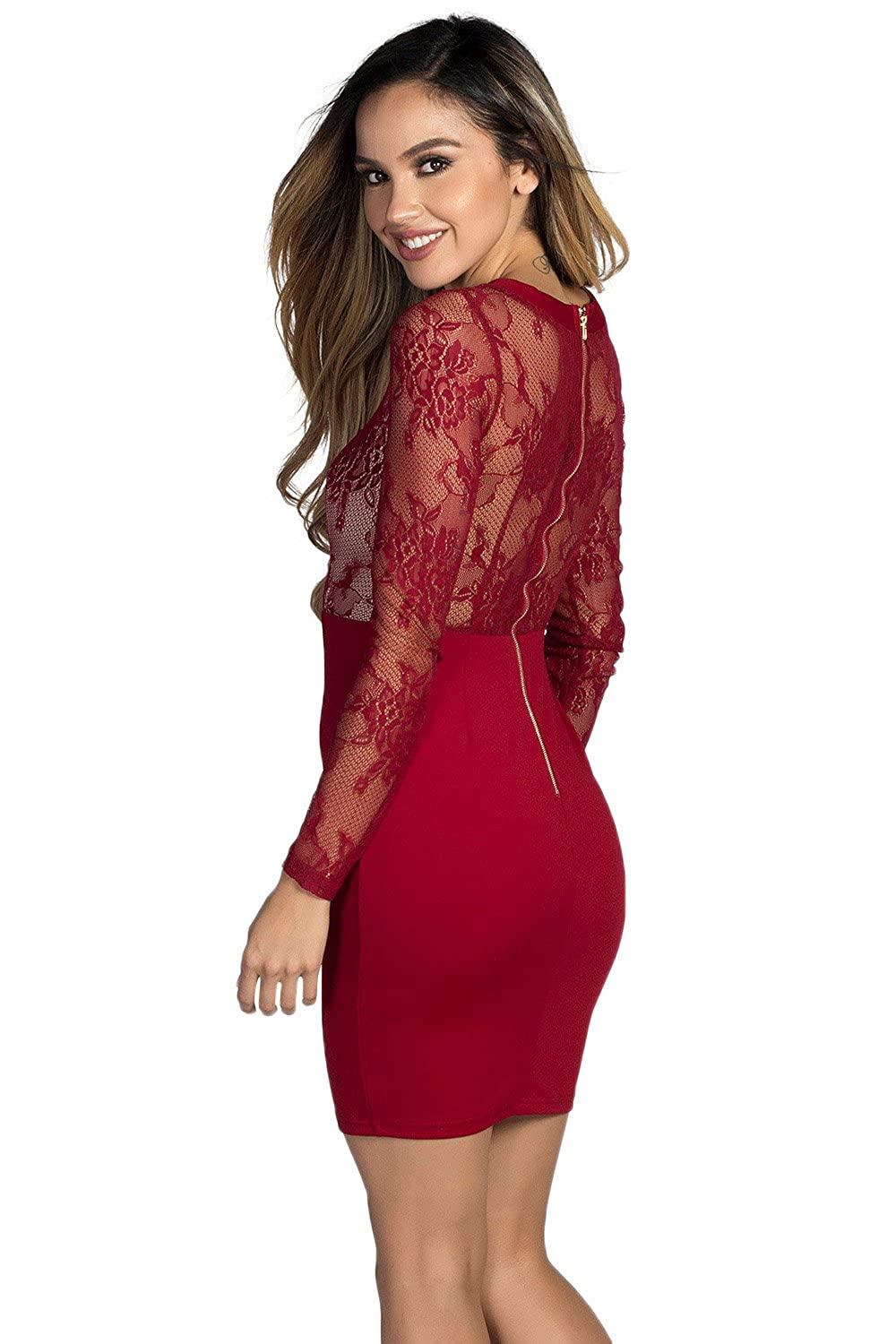 1c9c369dfd58 Babe Society Women's Burgundy Lace Long Sleeve Lace Up Bodycon Dress at Amazon  Women's Clothing store:
