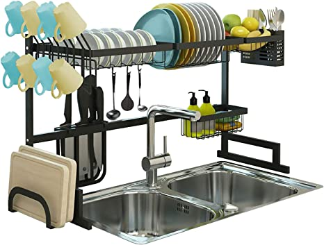 Amazon Com Over The Sink Dish Drying Rack Drainer Shelf For Kitchen Supplies Storage Counter Organizer Utensils Holder 2 Tier For Kitchen Countertop Rustless Stainless Steel Space Saver Stand Black Home Kitchen
