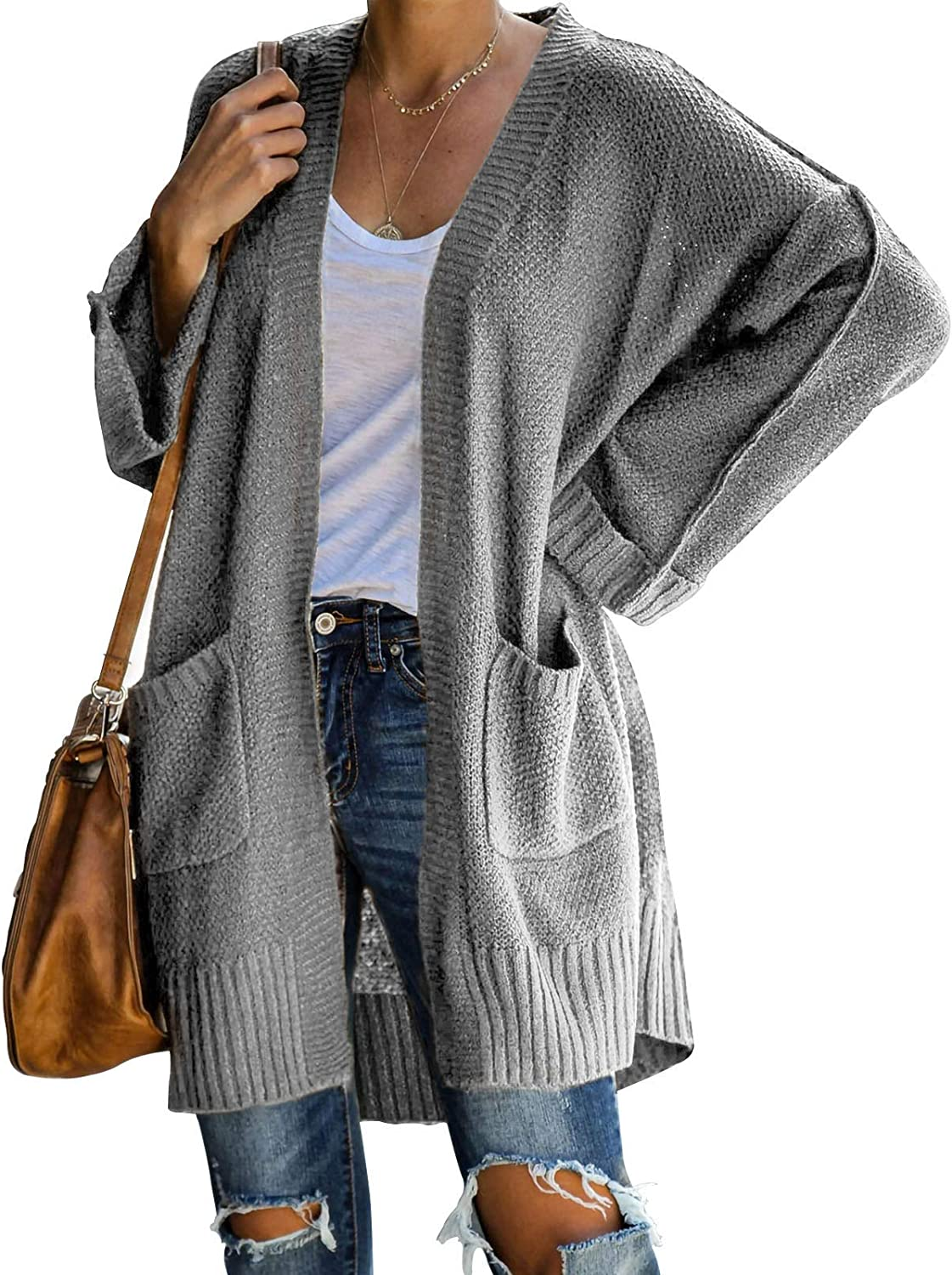 Womens Color Block Open Front Long Cardigans Plus Size Oversized Long Sleeve Chunky Sweaters Outwear with Pockets