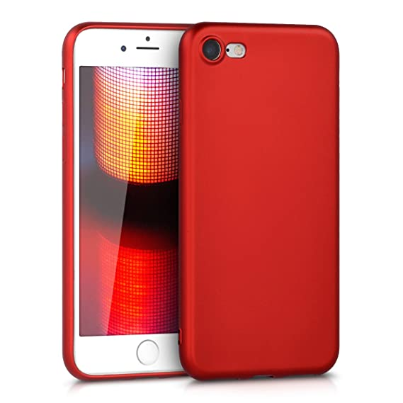 new concept f0fcd 8d34a kwmobile TPU Silicone Case for Apple iPhone 7/8 - Soft Flexible Shock  Absorbent Protective Phone Cover - Metallic Dark Red