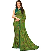 Siril Women's Printed, Lace Chiffon Saree With Blouse (1532S203; Green (Onion); Printed, Lace Border)