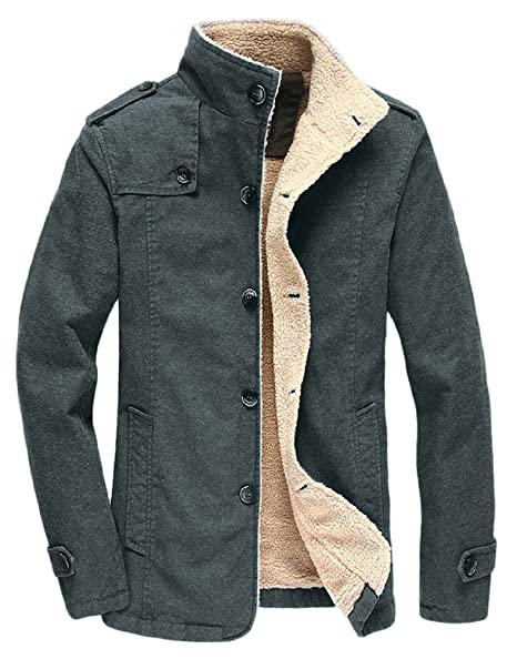 Vcansion Mens Winter Fleece Windproof Jacket Outerwear Single Breasted Classic Cotton Jacket Coats