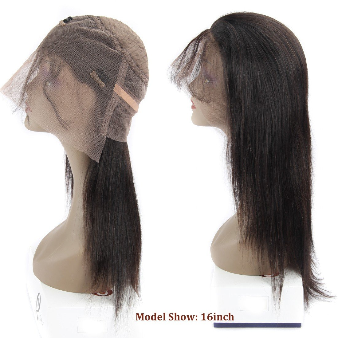360 Frontal Lace Wig Straight 360 Lace Front Human Hair Wigs Peruvian Virgin 360 Lace Frontal Wig 130% Density with Pre Plucked Natural Hairline Baby Hair 360 Degree Lace Human Hair Wig (14inch) by QUEENA (Image #4)