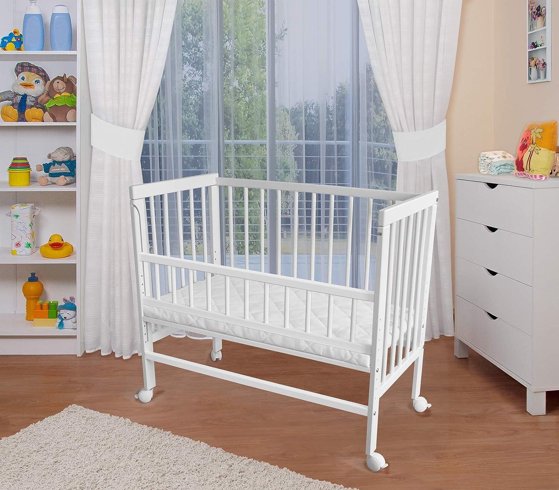 WALDIN Lit cododo pour bébé/berceau - hauteur réglable - bois naturel ou blanc laqué, blanc laqué, flancs supplémentaires inclus
