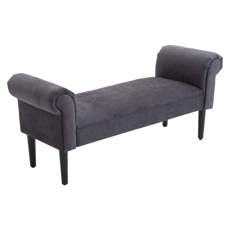 Superb Homcom 52 Linen Upholstered Accent Ottoman Bench With Armrests Dark Grey Dailytribune Chair Design For Home Dailytribuneorg