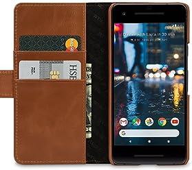 StilGut Talis Case con Tasca per Carte, Custodia in Pelle Cover per Google Pixel 2. Chiusura a Libro Flip-Case in Vera Pelle Fatta a Mano, pratiche Tasche per Carte di Credito, Cognac