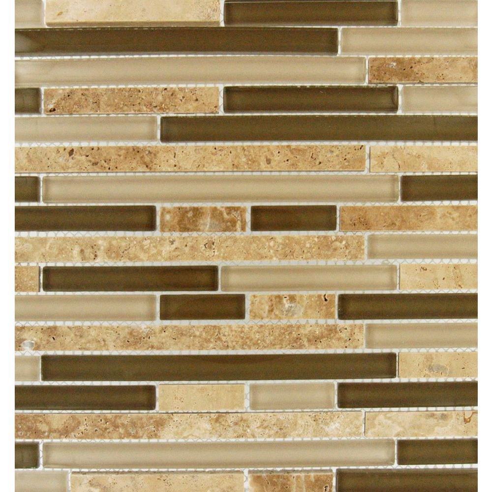 MS International 12 in. x 12 in. Pine Valley Interlocking Glass & Stone Mesh-Mounted Mosaic Tile - Box of 5 sqf