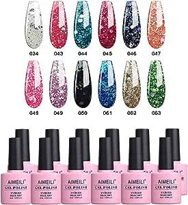 AIMEILI Soak Off UV LED Gel Nail Polish Multicolour/Mix Colour/Combo Colour Set Of 12pcs X 10ml - Kit Set 7