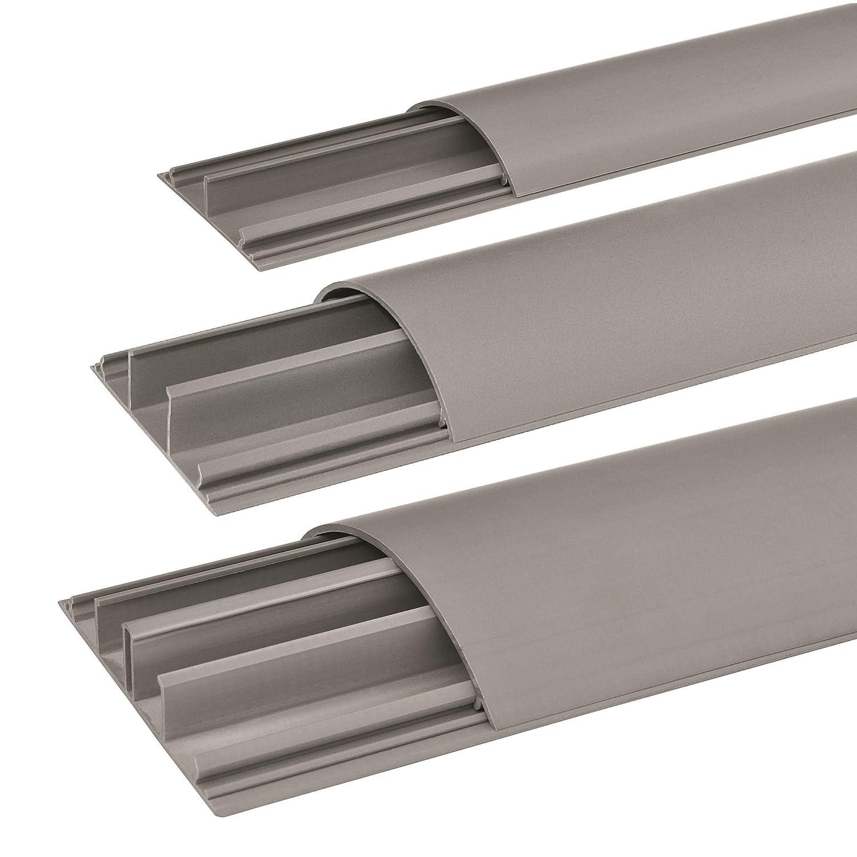 SCOS Smartcosat SCOSKK295 1 m Habrund Kabelkanal grau L x B x H 1000 x 75 x 20 mm, PVC, Fu/ßboden, Kanal, Selbstklebend