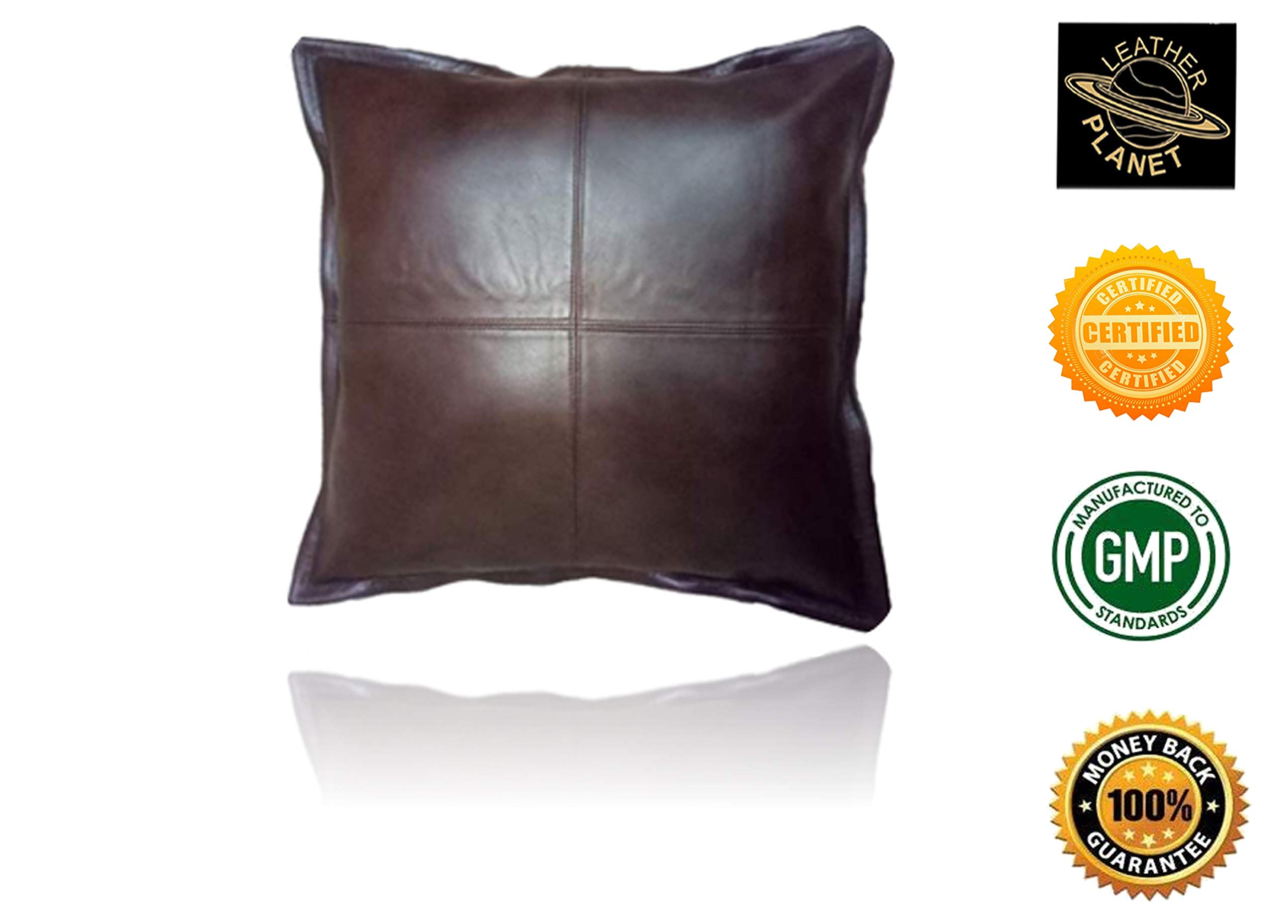 Leather Planet 100% Lambskin Leather Throw Pillow Cushion Cover - Sofa Cushion Case - Decorative Throw Cover for Indoor and Outdoor - 18x18 Inches - Box Dark Brown Pack of 1