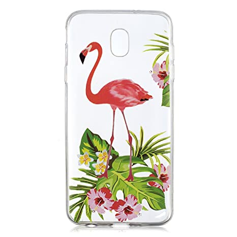 6a7bc56b609 ZXLZKQ Funda para Samsung Galaxy J7 2018(European Version) Cover Flamingo  Rose Transparente TPU