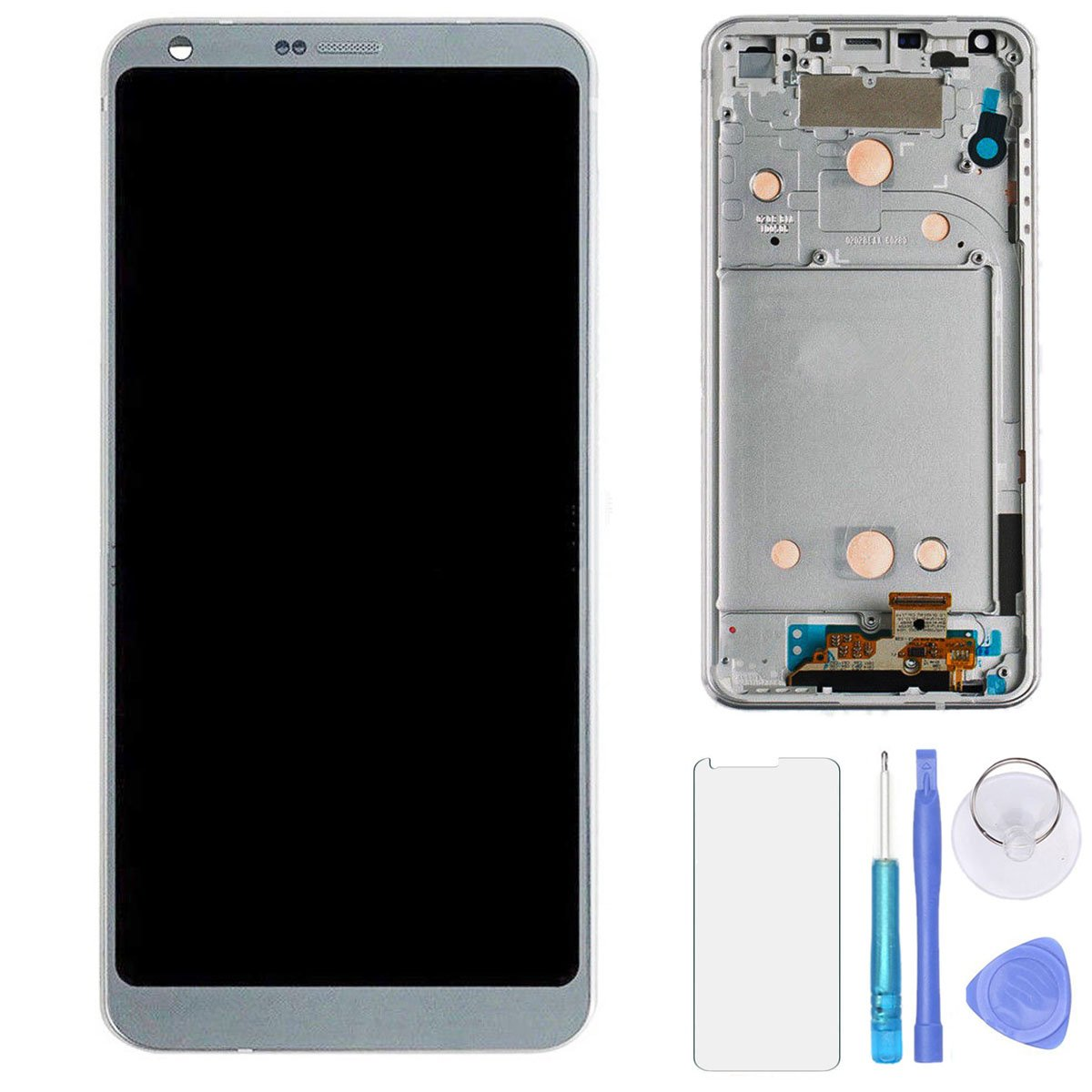 SPHENEL LCD Display And Digitizer Touch Screen Assembly With Frame For LG G6 H870 H871 H872 LS993 VS998 (Platinum)