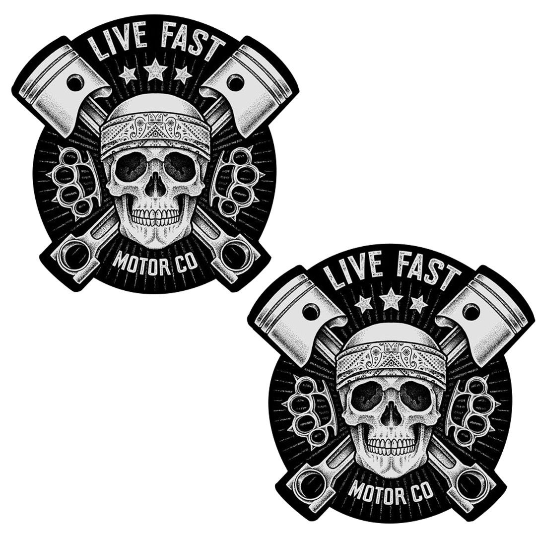 Skino 2 x PVC Laminado en Caliente Vinilo Adhesivos Deporte Calavera crá neo Live Fast B 41