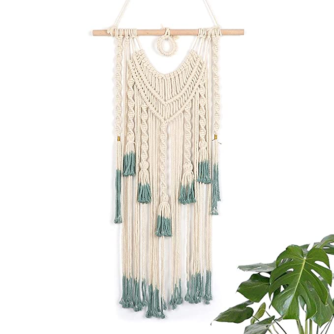 Lomohoo Macrame Woven Wall Hangings Boho Macrame Wall Art Handmade Woven Wall Tapestries Wall Decoration For Living Room Bedroom Home Dorm (84cm*45cm)