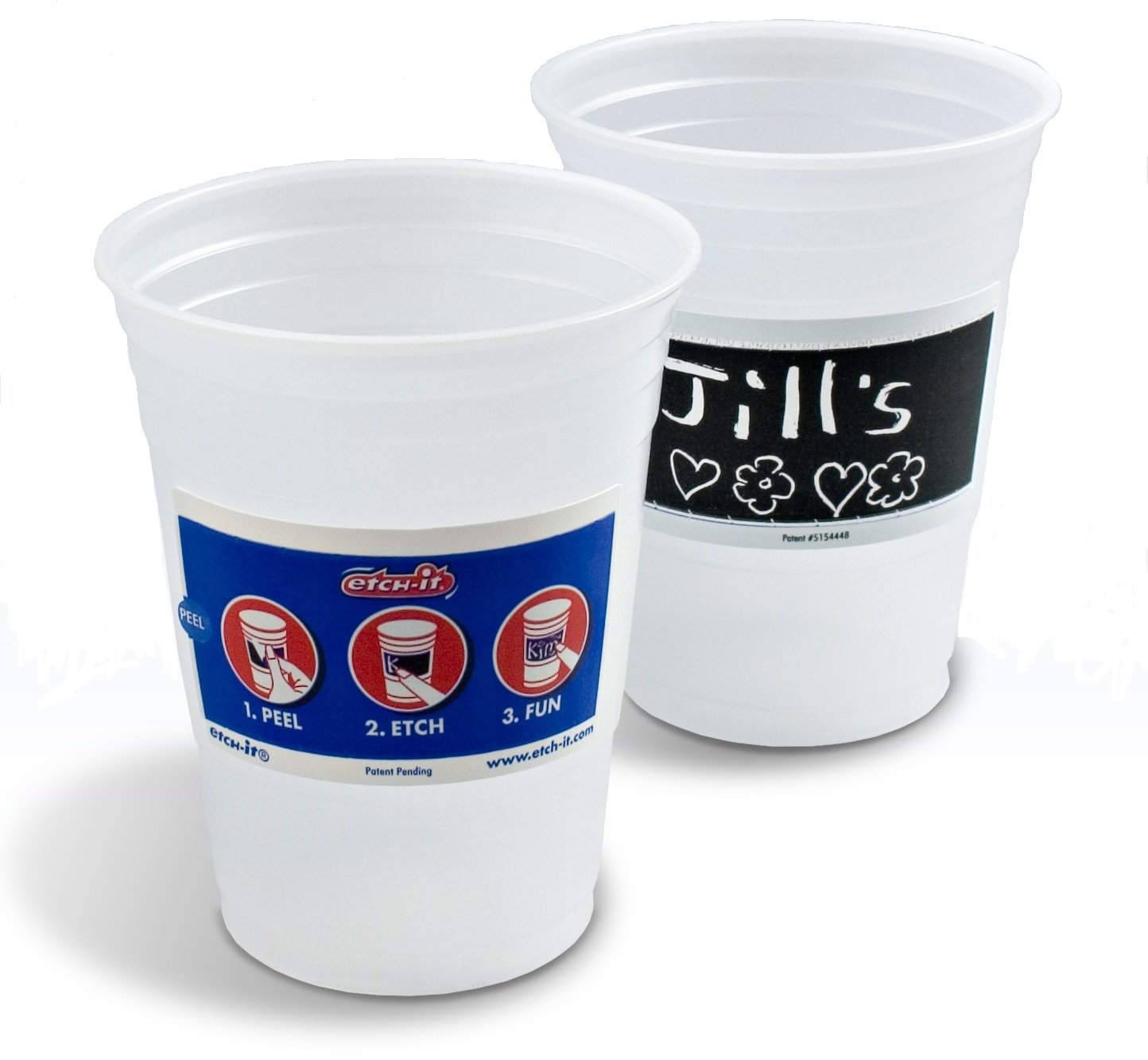 Etch-it Disposable Write-On Party Cups - 18 oz - Pack of 72 Cups - Frost